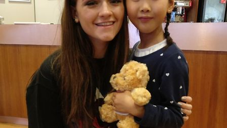 X Factor star Emily Middlemas with Kaleigh. Kaleigh loves singing and music.