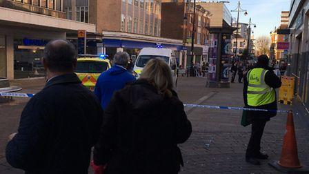Police were called after a man was stabbed in the neck in front of Primark in Exhange Street, Romfor