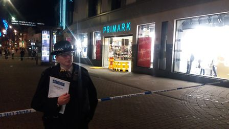 Police were called after a man was stabbed in the neck outside Primark in Romford