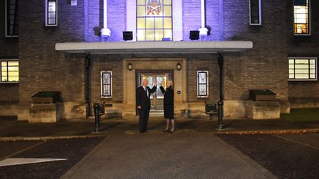 Council leader Roger Ramsey and mayor Philippa Crowder at Havering Town Hall, lit blue in support of