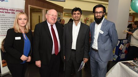 Practice Manager Sarah Benge, Mike Gapes MP, Dr Muneeb Choudhury GP Director and Omar Din