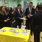 Former pupils Laura Matthews, Tom Bryant and Nathan Murphy returned to Coopers Coborn School with em
