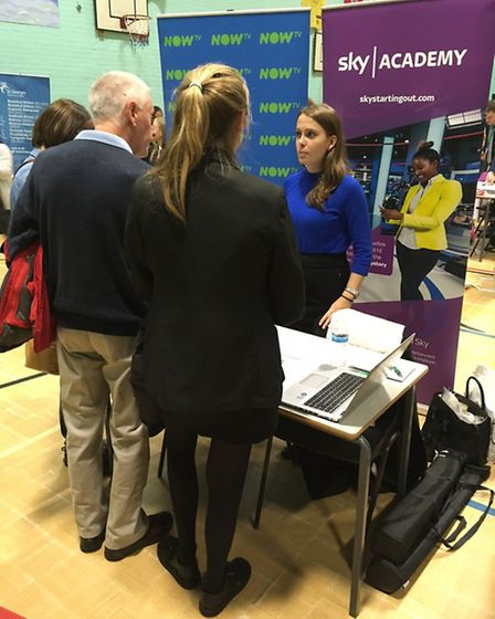 Former pupil Phoebe Kite returned to Coopers Coborn School with employer Sky at a Careers Convention