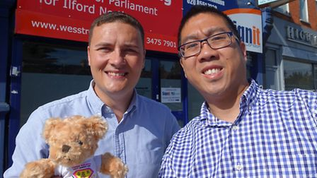 Ilford North MP Wes Streeting with Kaleigh's bear, and Scott Lau. Mr Streeting has campaigned for mo