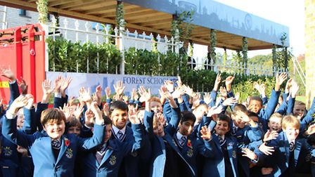 Forest School pupils celebrating in front of their float for the Lord Mayor's show. Picture: Forest