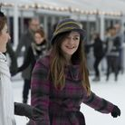 Skaters on the winter ice rink at Somerset House, London, as they wear outlandish hats, during a ska