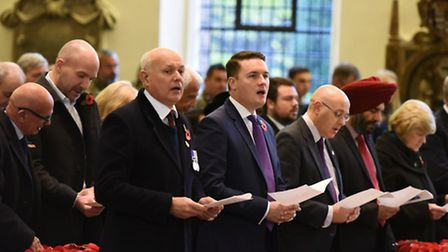 The service of Remembrance at St Mary's church in South Woodford. MPs Iain Duncan Smith and Wes Stre