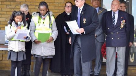 Fairlop Heritage Group chairman David Martin with pupils from John Bramston Primary School at the an