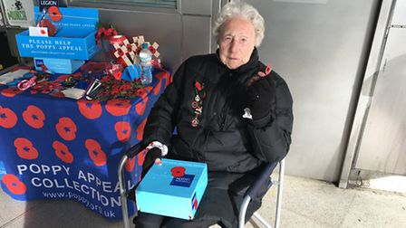 Rose Powers, 92, who has been selling poppies for 40 years