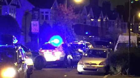 Armed police in Elmcroft Avenue, Wanstead, last night. Photo: Michael Begley