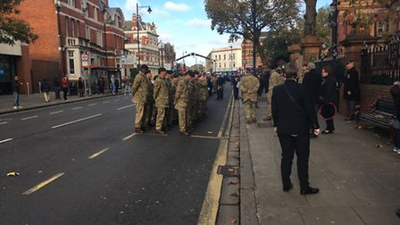 Cadets prepare to march to Central Park in East Ham
