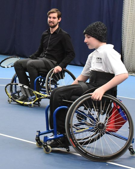 Archant reporter George Sessions and Alex Chaston, 13, at Lee Valley Hockey & Tennis Centre (pic: Ke