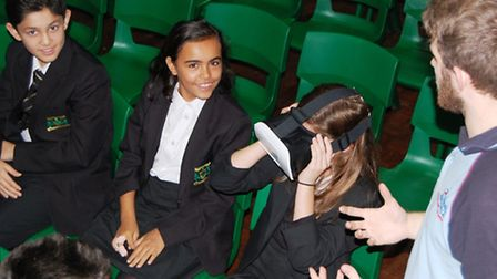 Year 7 pupils being taught by the RAF engineers. Picture: Woodbridge