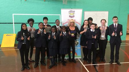 Students at St Edward's School with the founder of The Dream Factory Avril Mills