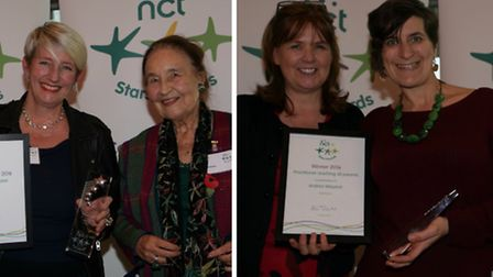 Kelly Drake (left) and Andrea Weyand (right) with Seana Talbot, NCT President and Prunella Briance w