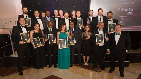 The winners group pose for a photo at the Thames Gateway Business Awards 2016.