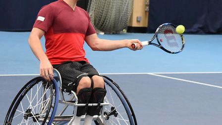 Paralympic wheelchair tennis gold medallist Gordon Reid played against George Sessions at the Lee Va