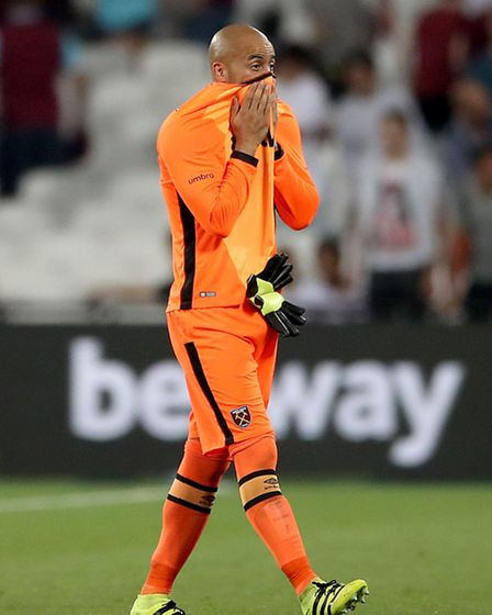West Ham United goalkeeper Darren Randolph appears dejecetd after the final whistle during the UEFA Europa League - Play...