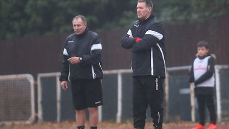 Hornchurch manager Jimmy McFarlane looks on (pic George Phillipou/TGS Photo)