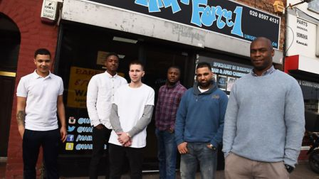 Owner Anderson Boyce at Hair Force One is giving out free hair cuts to men from the Romford YMCA and