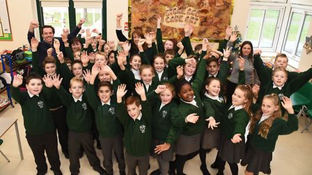 Pupils and staff at Scotts Primary School in Hornchurch celebrating the latest results.
