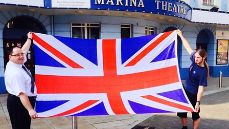PROUD TO BE BRITISH: Pictured, in preparation for the event, Marina Theatre catering manager, Paul F