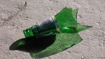 A stock photo of a broken bottle, similar to that used by the teenagers in their attack,