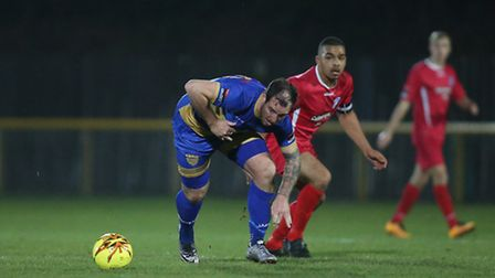 Nick Reynolds goes on the attack for Romford against Wroxham (pic George Phillipou/TGS Photo)