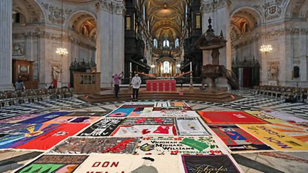 The UK AIDS Memorial Quilt displayed at St Paul's Cathedral in central London. One of the quilts was
