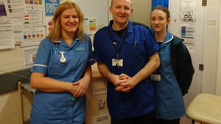 Rotational nurse Sally Barbrook, Nelft's rotational nurse lead Paul Chesnaye and rotational nurse Ka