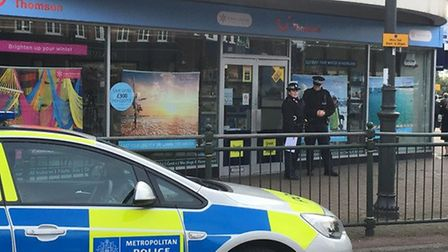 Police outside Thomson travel agency in Corbets Tey Road, Upminster, on October 21.