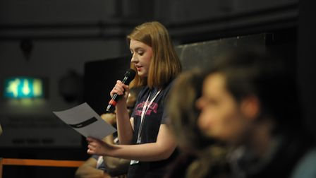 A student puts a question to the Havering Asks panel members at Havering College, last year.