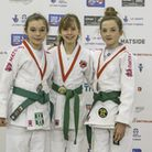 Amy Bundy, right, wins bronze at the 2016 Pre-Cadet British Judo Championships in Sheffield. Photo: