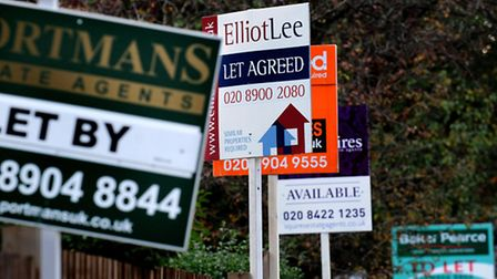 To let and for sale property boards. Photo: Anthony Devlin/PA Archive/PA Images