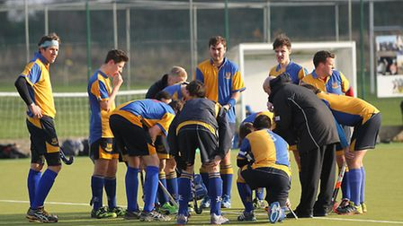 Upminster players huddle before their match at Coopers (pic George Phillipou/TGS Photo)