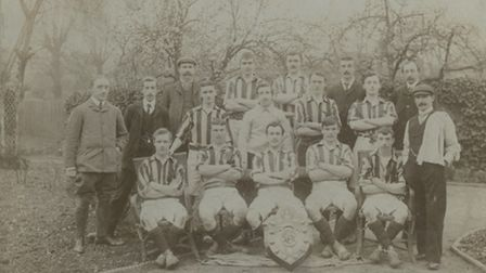 Arthur Edwin Jones (centre) with the Romford FC team in 1903-1904. Picture: Romford Football Club V