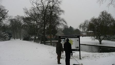 Valentines Park, Ilford, under a blanket of snow in 2013. Picture: Dharam Sahdev.
