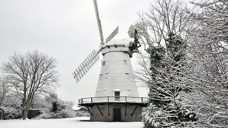 Upminster Windmill when snow swept across Havering in 2013. Picture: John Hercock.