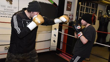 Niall doing some light sparring with Robin Dupre