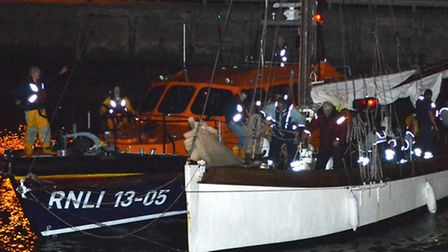 Lowestoft's RNLI Lifeboat was called to help a 120-year-old raching yacht which was unable to get to