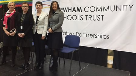 Sarah Jacobs, chief executive of Newham Community Schools Trust, with headteachers Charlotte Robinso