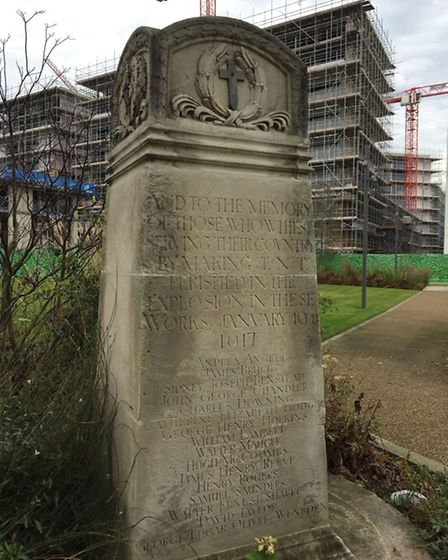 The memorial to those who lost their lives at its new home in the middle of the Royal Wharf developm