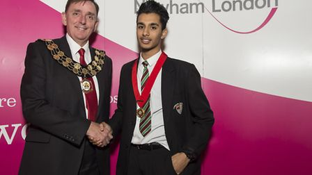 Yaseen Bux, former Young Mayor of Newham, with Sir Robin Wales