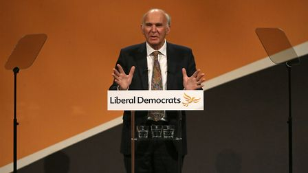 Britain's leader of the Liberal Democrats, Vince Cable delivers his Keynote Speech at the party's an