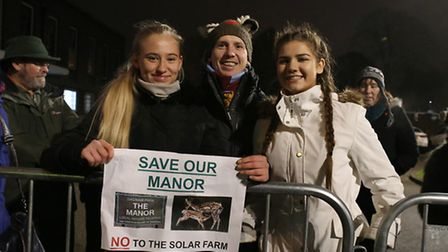The solar park protest outside Havering Town Hall, Romford, (L to R) Robyn Williamson, 16, dad Stuar