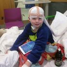Nathan, 7, undergoing tests at hospital. Picture: Susie Box.