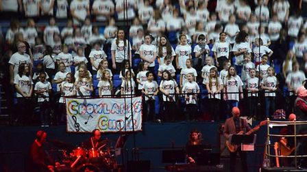 Crowlands Primary School choir performing at the Young Voices Concert at the O2