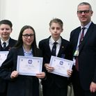 Redden School Pupils Joshua Kirby, George Attrill and Amy Horsely with headteacher Paul Ward