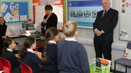 Iain Duncan Smith, meeting the School council at Churchfields Junior School, in South Woodford.