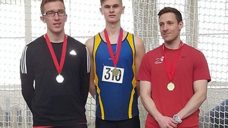 Havering's Alex Law (centre) on the podium at Lee Valley (pic Ian Law)